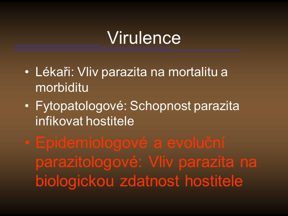 Mechanismy pathogenity Vedlejší produkt množení parazita Manipulace ze strany parazita zvyšující pravděpodobnost jeho přenosu do dalšího hostitele (důsledek – větší virulence parazitů jejichž přenos je pozitivně ovlivněn poškozením hostitele) Manipulace směřující k odstranění konkurence – toxiny u cholery a rotavirů – průjem vyplaví přirozenou mikroflóru střeva Aktivní sebevražda hostitele jakožto produkt skupinové selekce Mafia efekt – kukačka likvidující hnízda jedinců, kteří vyhodili podstrčené vejce