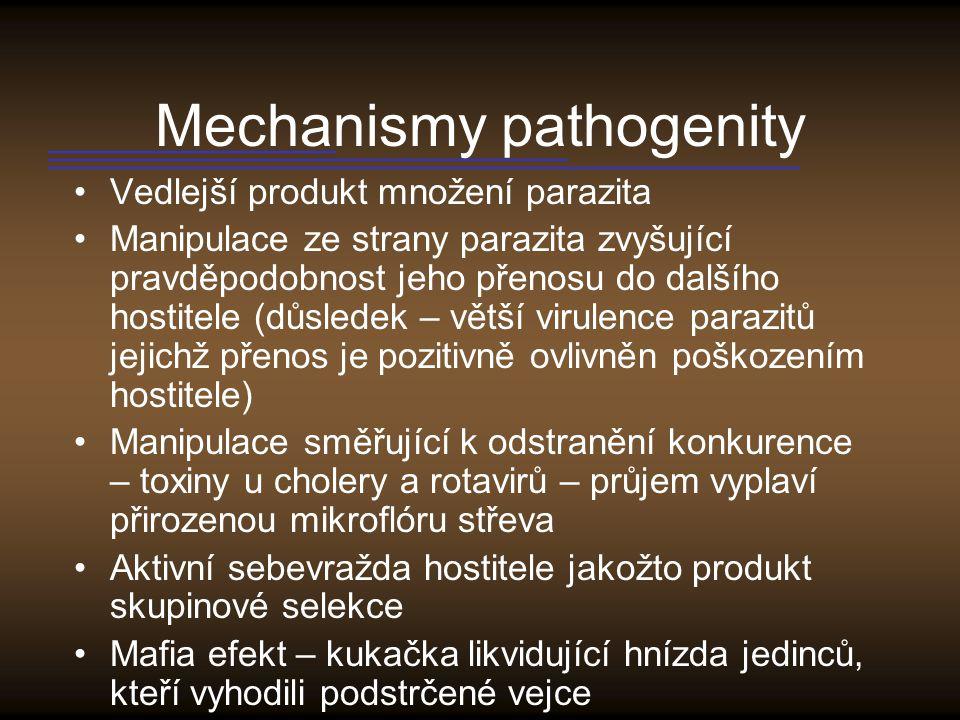 Genetika patogenity Geny podmiňující patogenitu jsou nápadně často součástí PAIS (Pathogenicity Islands) – až 200 kB, často odchylný obsah GC párů, často ohraničeny IS elementy.
