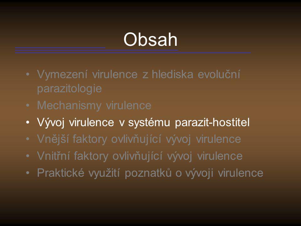 Vývoj virulence Základní představa – virulence s dobou soužití parazita s daným druhem hostitele klesá.