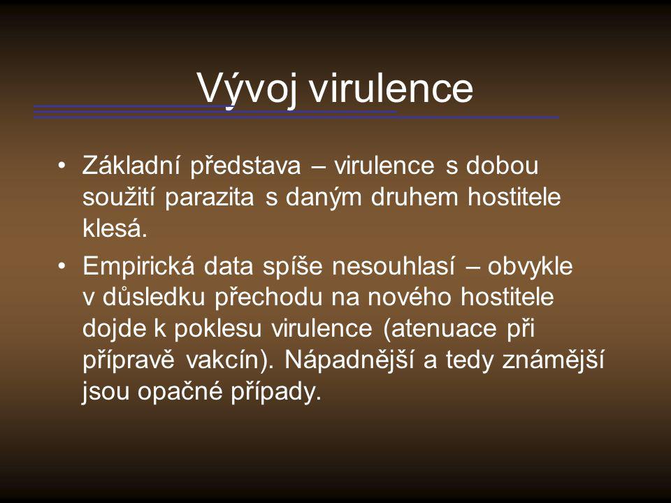 Změna virulence u myxomatozy IIIIIIIVV 1975-1981 1971-1974 1967-1969 1964-1966 1960-1963 1956-1959 1952-1955 1950-1951 Stupeň virulence (I –největší, V –nejmenší)
