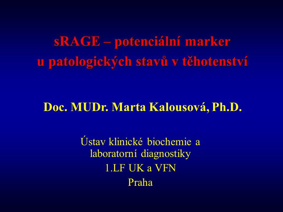 sRAGE – potenciální marker u patologických stavů v těhotenství Ústav klinické biochemie a laboratorní diagnostiky 1.LF UK a VFN Praha Doc. MUDr. Marta