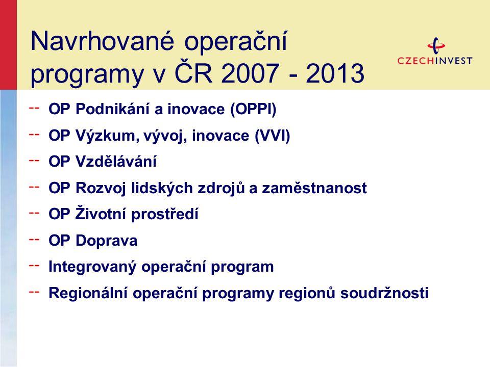 Navrhované operační programy v ČR 2007 - 2013 ╌ OP Podnikání a inovace (OPPI) ╌ OP Výzkum, vývoj, inovace (VVI) ╌ OP Vzdělávání ╌ OP Rozvoj lidských zdrojů a zaměstnanost ╌ OP Životní prostředí ╌ OP Doprava ╌ Integrovaný operační program ╌ Regionální operační programy regionů soudržnosti