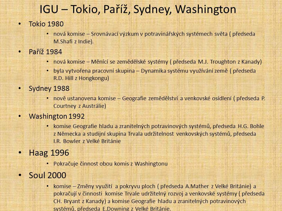 IGU – Tokio, Paříž, Sydney, Washington Tokio 1980 nová komise – Srovnávací výzkum v potravinářských systémech světa ( předseda M.Shafi z Indie). Paříž