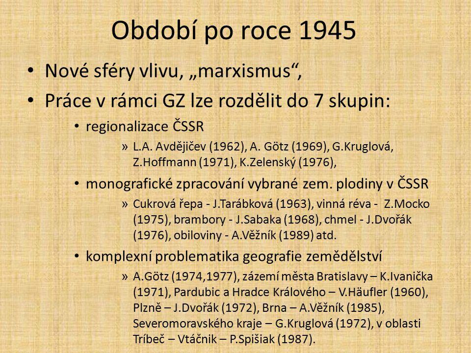Období po roce 1945 interakce zemědělství a životního prostředí » A.Götz., G.Kruglová, (1975), S.Juránek (1982), G.Kruglová (1974), J.Ungerman (1977), A.Věžník (1986 využití půdy, analýza vývoje půdního fondu » I.Bičík (1979), I.Lepka (1978), F.Žigrai (1980), P.Spišiak (1984), M.Viturka (1984), J.Feranec, J.