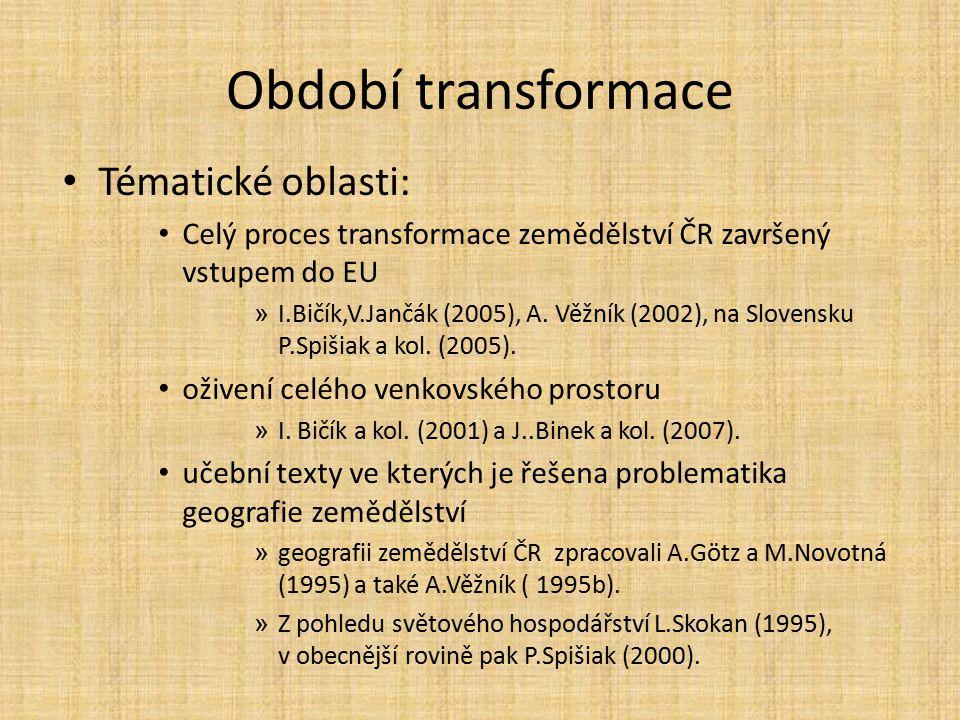 Období transformace Tématické oblasti: Celý proces transformace zemědělství ČR završený vstupem do EU » I.Bičík,V.Jančák (2005), A. Věžník (2002), na