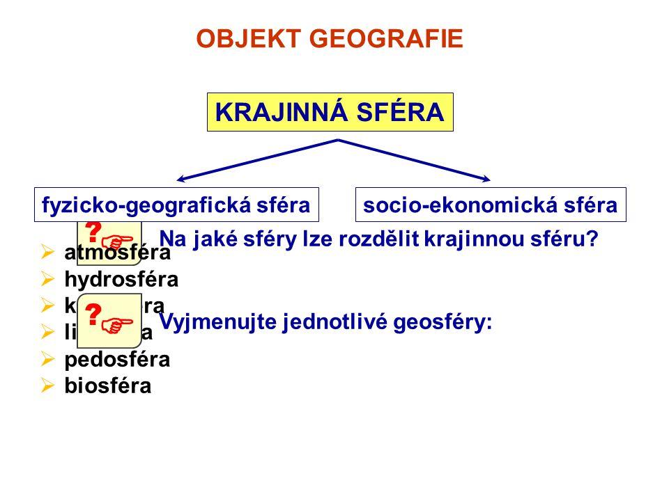 OBJEKT GEOGRAFIE KRAJINNÁ SFÉRA Na jaké sféry lze rozdělit krajinnou sféru?  ? fyzicko-geografická sférasocio-ekonomická sféra  atmosféra  hydrosfé