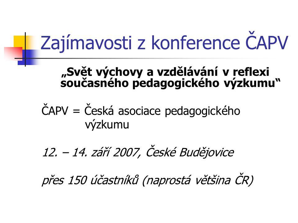 """Zajímavosti z konference ČAPV """"Svět výchovy a vzdělávání v reflexi současného pedagogického výzkumu ČAPV = Česká asociace pedagogického výzkumu 12."""