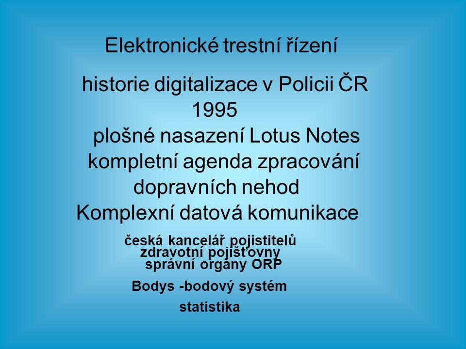 ETŘ Elektronické trestní řízení plný provoz od 1.1.2006 IS v rámci celé policejní správy Hradec Králové celá územní působnost krajského soudu o b s a h u j e - komplexní trestní agendu -komplexní přestupkovou agendu - kompletní spisovou agendu komoletní spisová služba