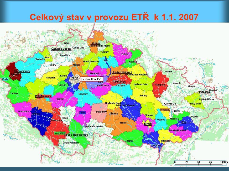Celkový stav v provozu ETŘ k 1.1. 2007