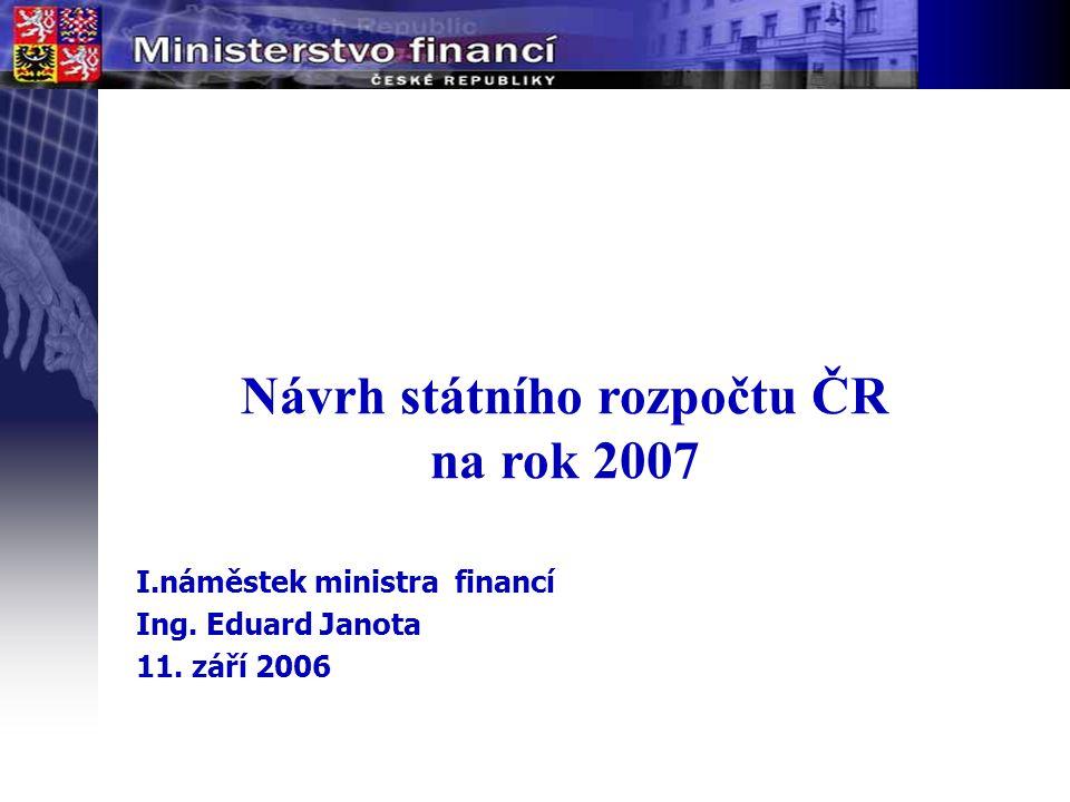 Návrh státního rozpočtu ČR na rok 2007 I.náměstek ministra financí Ing. Eduard Janota 11. září 2006
