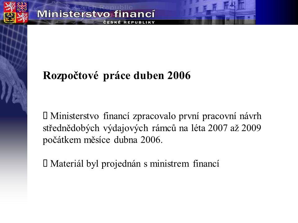 Rozpočtové práce duben 2006  Ministerstvo financí zpracovalo první pracovní návrh střednědobých výdajových rámců na léta 2007 až 2009 počátkem měsíce dubna 2006.