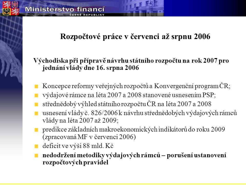 Rozpočtové práce v červenci až srpnu 2006 Východiska při přípravě návrhu státního rozpočtu na rok 2007 pro jednání vlády dne 16.