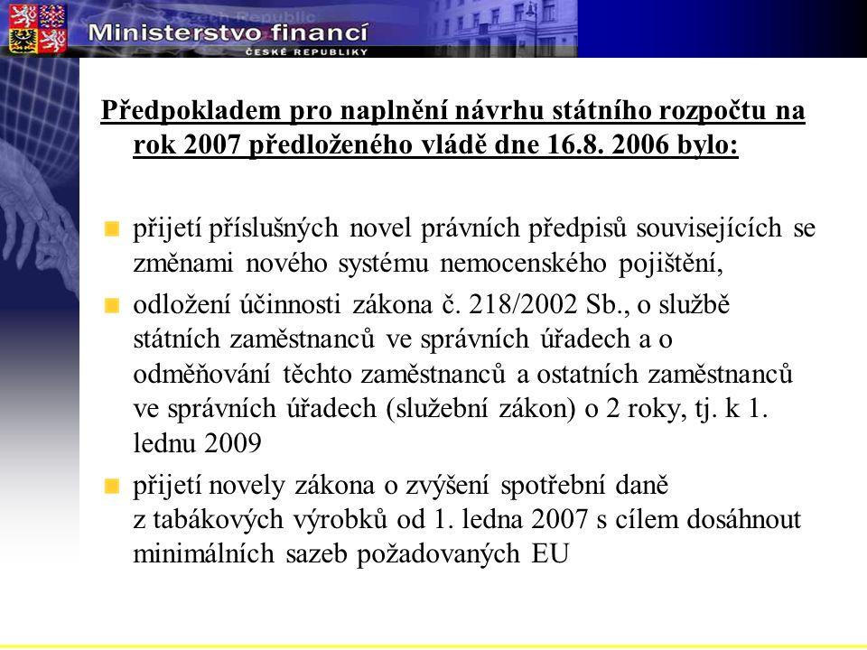 Předpokladem pro naplnění návrhu státního rozpočtu na rok 2007 předloženého vládě dne 16.8.