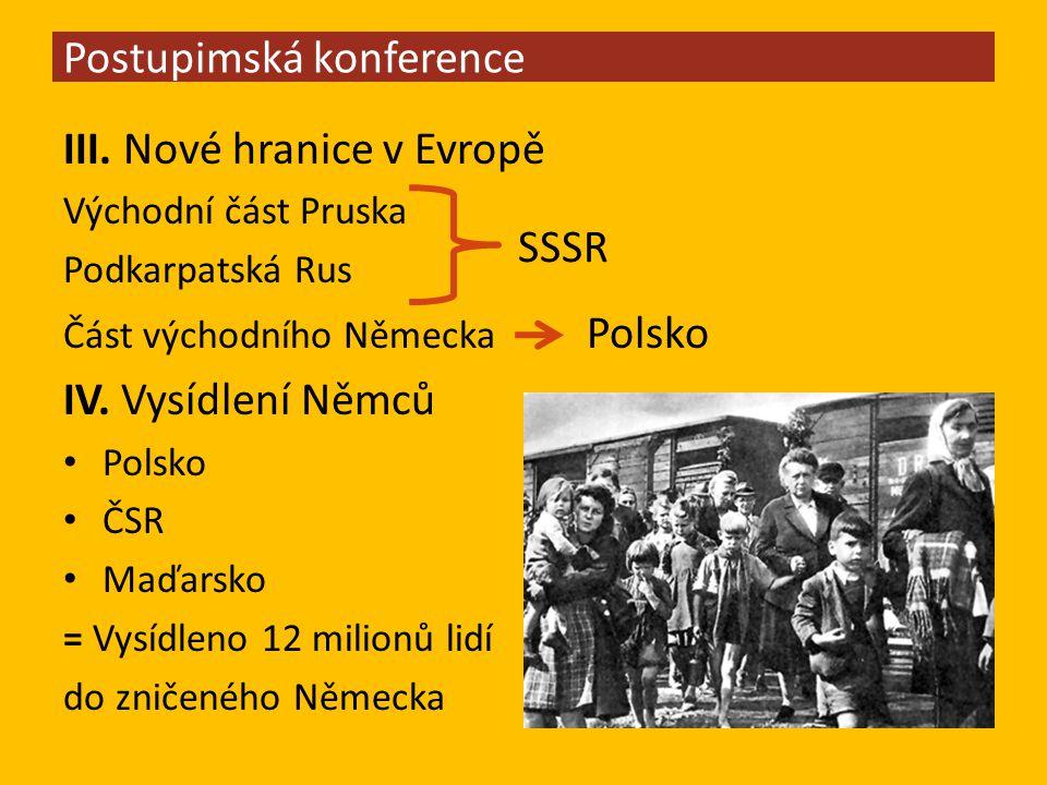 III. Nové hranice v Evropě Východní část Pruska Podkarpatská Rus Část východního Německa Polsko IV.