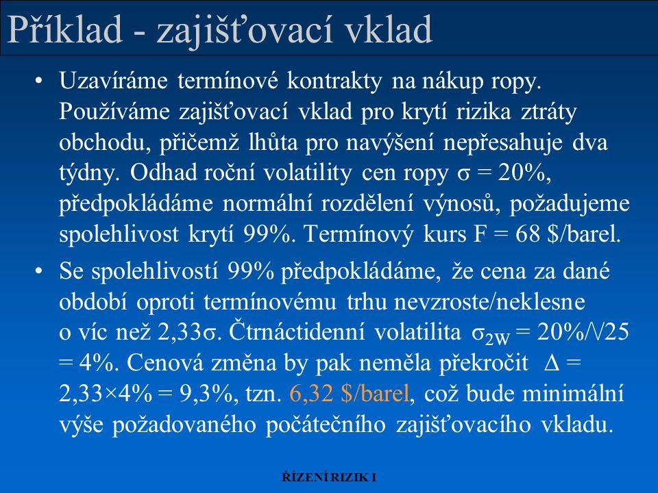 ŘÍZENÍ RIZIK I Příklad - zajišťovací vklad Uzavíráme termínové kontrakty na nákup ropy.