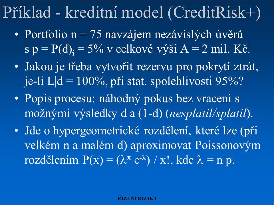 ŘÍZENÍ RIZIK I Příklad - kreditní model (CreditRisk+) Portfolio n = 75 navzájem nezávislých úvěrů s p = P(d) i = 5% v celkové výši A = 2 mil.