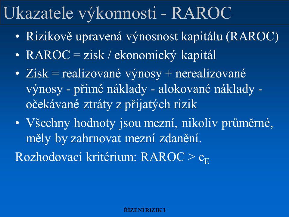 ŘÍZENÍ RIZIK I Ukazatele výkonnosti - RAROC Rizikově upravená výnosnost kapitálu (RAROC) RAROC = zisk / ekonomický kapitál Zisk = realizované výnosy + nerealizované výnosy - přímé náklady - alokované náklady - očekávané ztráty z přijatých rizik Všechny hodnoty jsou mezní, nikoliv průměrné, měly by zahrnovat mezní zdanění.