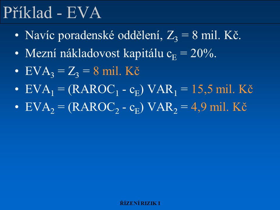 ŘÍZENÍ RIZIK I Příklad - EVA Navíc poradenské oddělení, Z 3 = 8 mil.