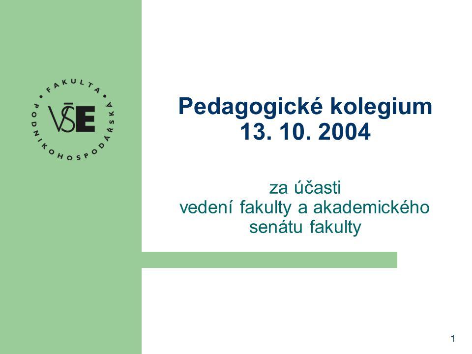 1 Pedagogické kolegium 13. 10. 2004 za účasti vedení fakulty a akademického senátu fakulty