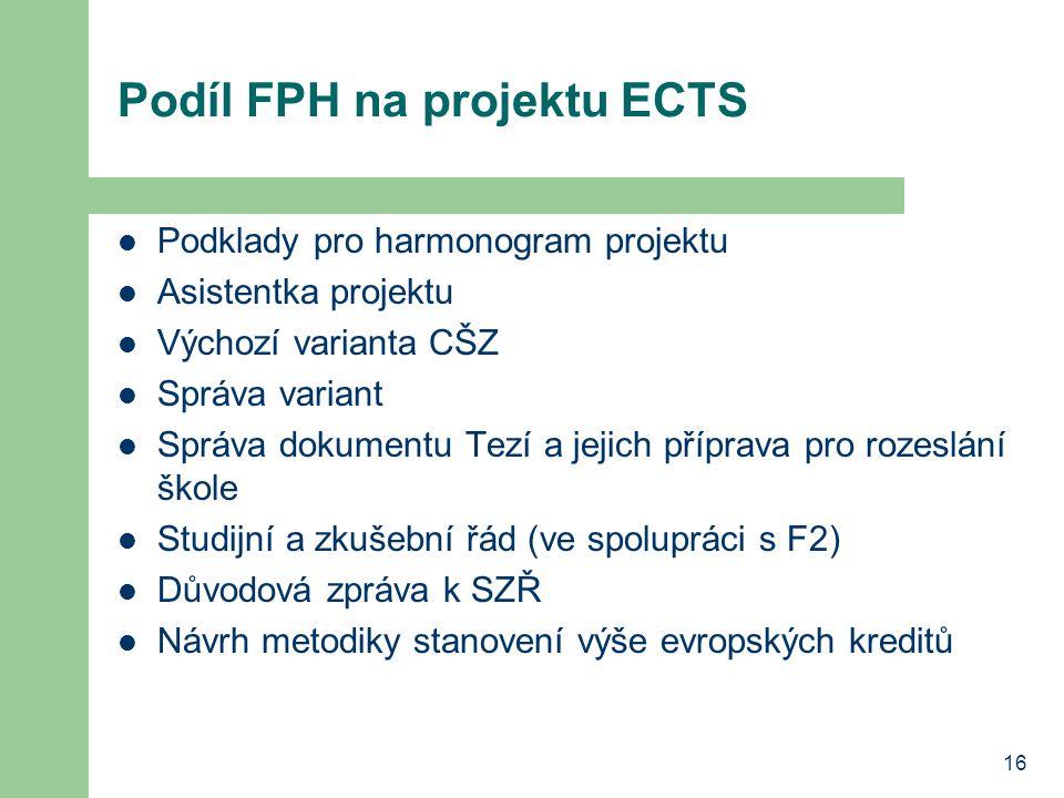16 Podíl FPH na projektu ECTS Podklady pro harmonogram projektu Asistentka projektu Výchozí varianta CŠZ Správa variant Správa dokumentu Tezí a jejich příprava pro rozeslání škole Studijní a zkušební řád (ve spolupráci s F2) Důvodová zpráva k SZŘ Návrh metodiky stanovení výše evropských kreditů