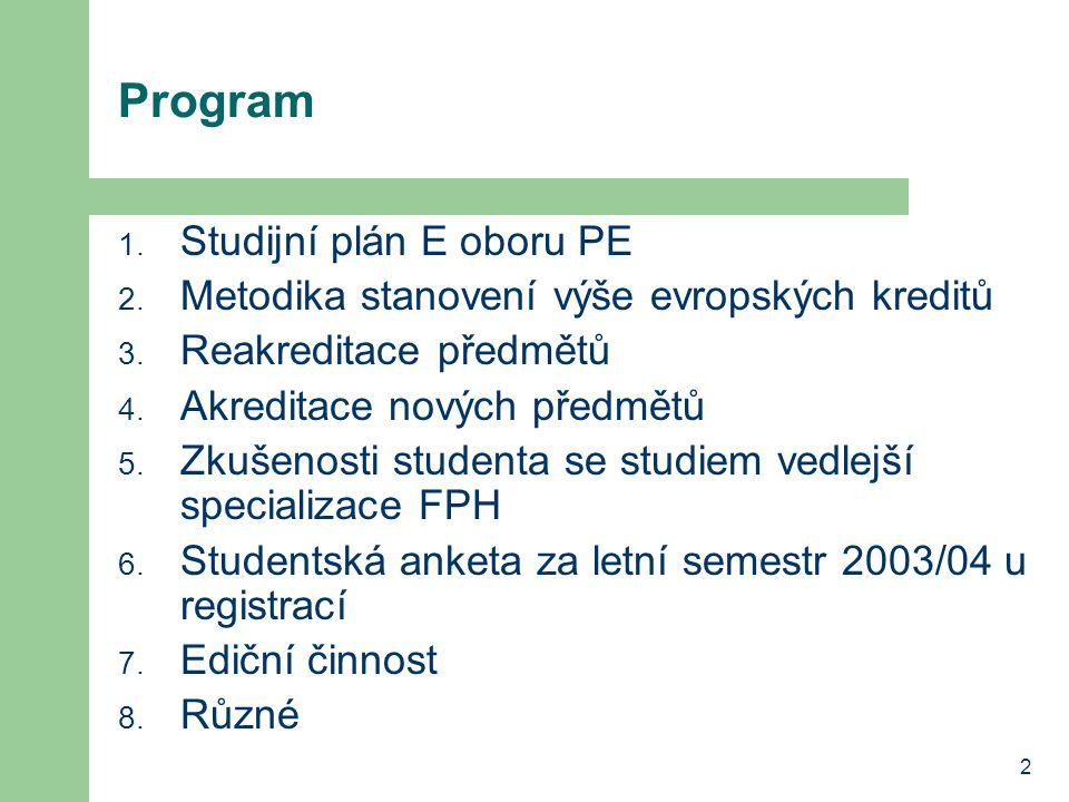 2 Program 1. Studijní plán E oboru PE 2. Metodika stanovení výše evropských kreditů 3.