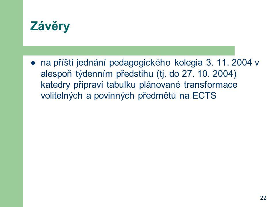 22 Závěry na příští jednání pedagogického kolegia 3.
