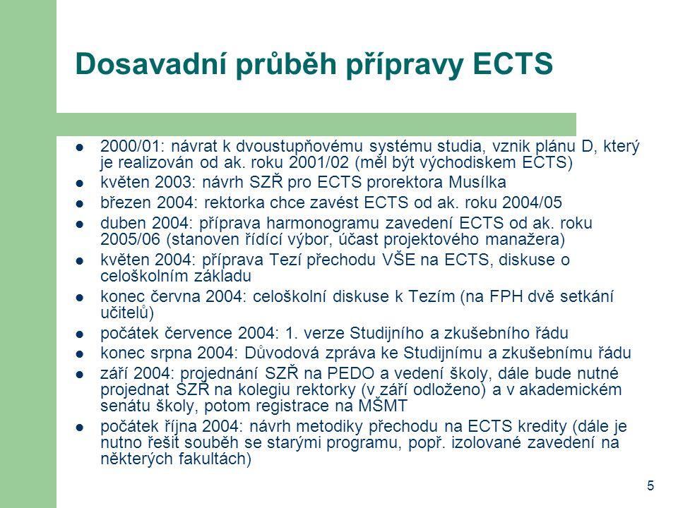5 Dosavadní průběh přípravy ECTS 2000/01: návrat k dvoustupňovému systému studia, vznik plánu D, který je realizován od ak.