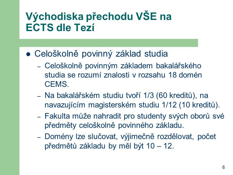 6 Východiska přechodu VŠE na ECTS dle Tezí Celoškolně povinný základ studia – Celoškolně povinným základem bakalářského studia se rozumí znalosti v rozsahu 18 domén CEMS.