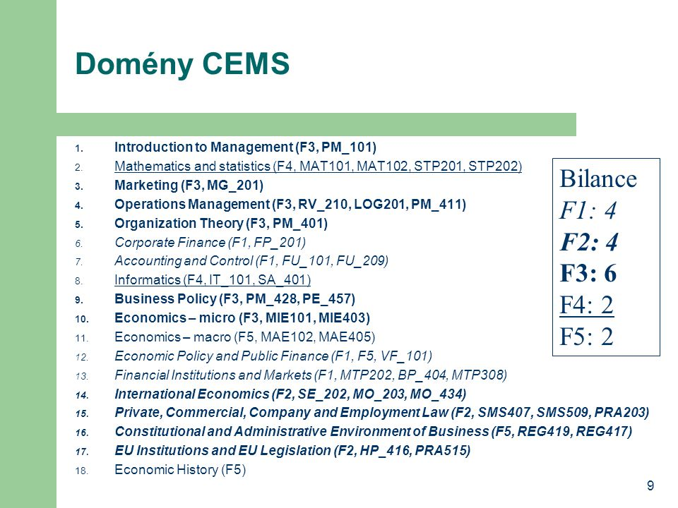 9 Domény CEMS 1. Introduction to Management (F3, PM_101) 2.