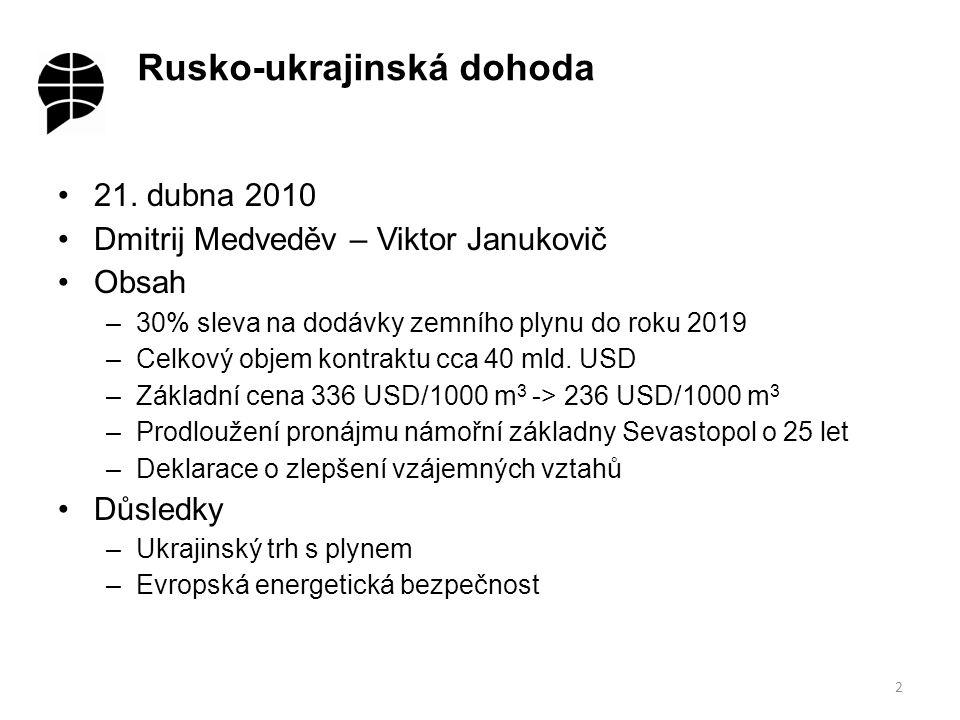"""Ukrajinský trh s plynem Přiblížení základníchcen pro Ukrajinu a pro státy EU (336 USD/1000 m 3 x 350 USD/1000 m 3 ) Klausule """"take or pay Pokles domácí spotřeby (o ¼ v roce 2009) v důsledku finanční krize a hospodářské recese."""