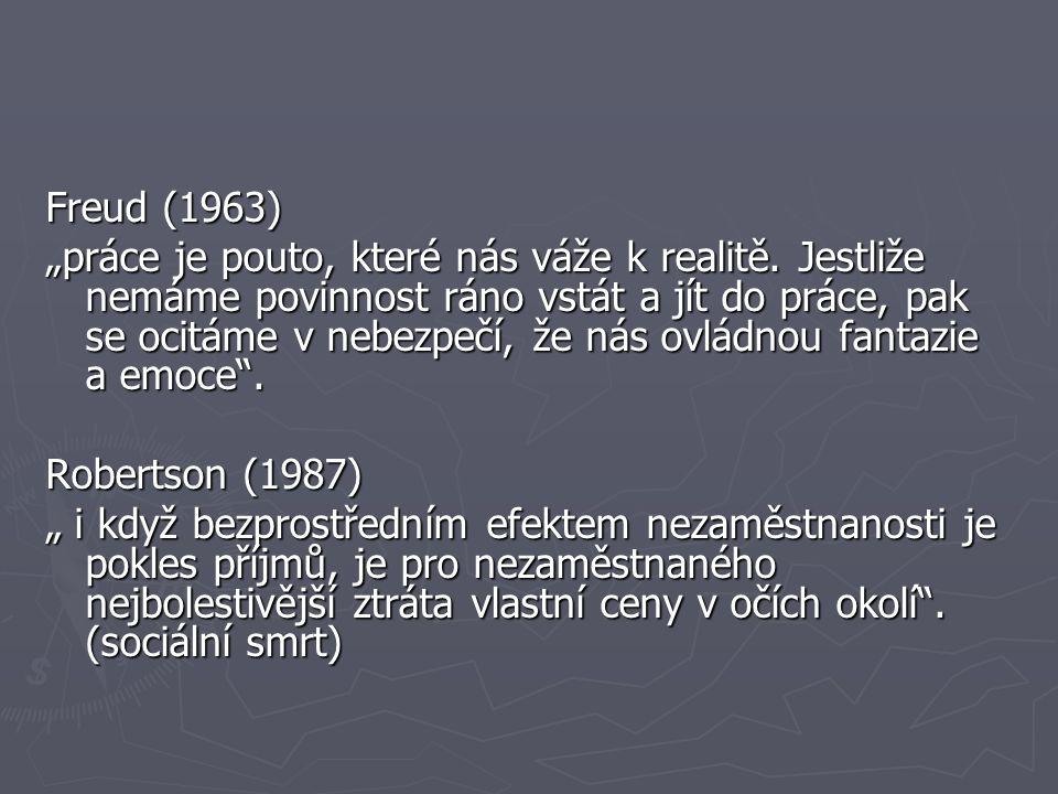 """Freud (1963) """"práce je pouto, které nás váže k realitě. Jestliže nemáme povinnost ráno vstát a jít do práce, pak se ocitáme v nebezpečí, že nás ovládn"""