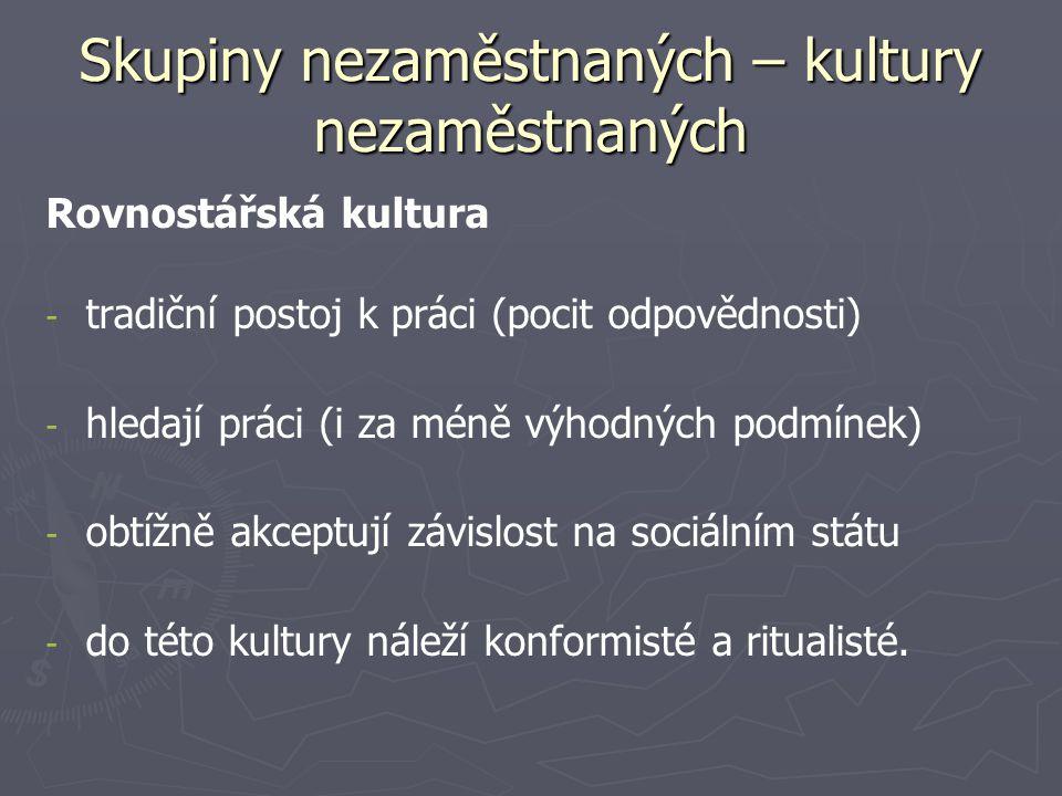 Skupiny nezaměstnaných – kultury nezaměstnaných Rovnostářská kultura - - tradiční postoj k práci (pocit odpovědnosti) - - hledají práci (i za méně výhodných podmínek) - - obtížně akceptují závislost na sociálním státu - - do této kultury náleží konformisté a ritualisté.