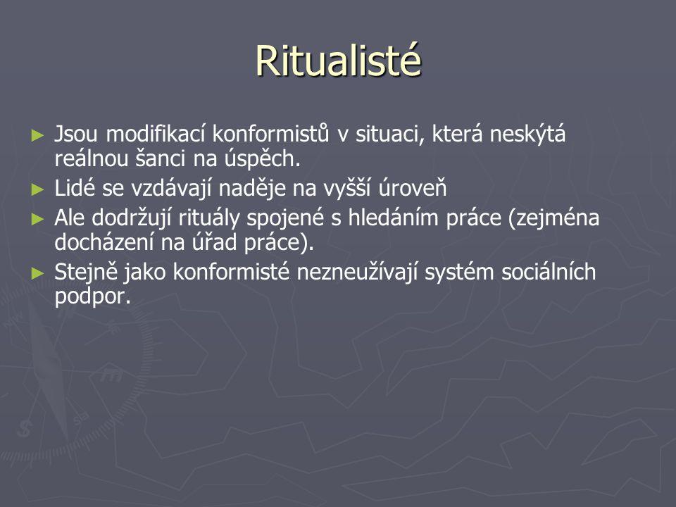 Ritualisté ► ► Jsou modifikací konformistů v situaci, která neskýtá reálnou šanci na úspěch. ► ► Lidé se vzdávají naděje na vyšší úroveň ► ► Ale dodrž