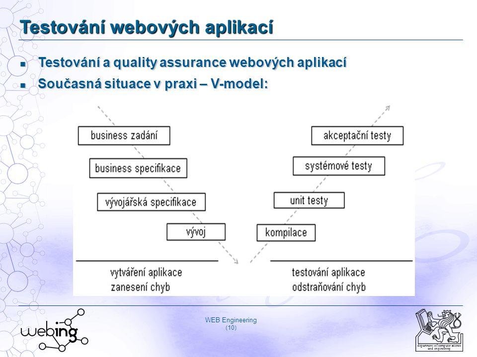 WEB Engineering (10) department of computer science and engineering Testování webových aplikací Testování a quality assurance webových aplikací Testov