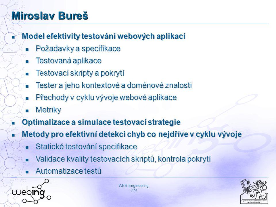 WEB Engineering (15) department of computer science and engineering Miroslav Bureš Model efektivity testování webových aplikací Model efektivity testo