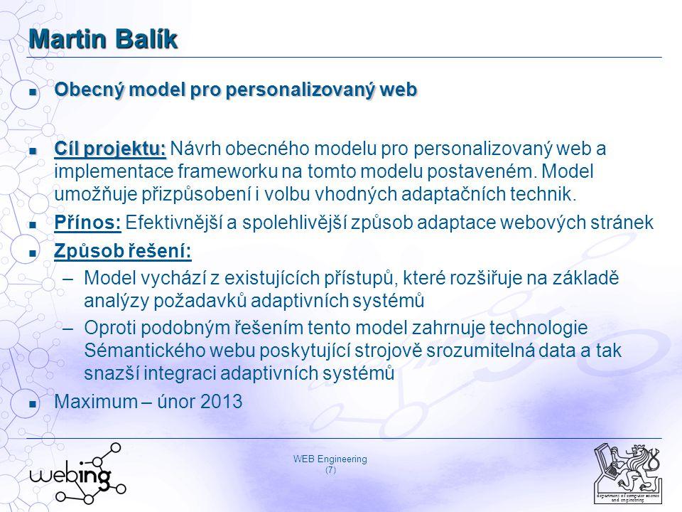 WEB Engineering (18) department of computer science and engineering Seznam bibliografických citací publikací 2010-2012, II Filipský, M.