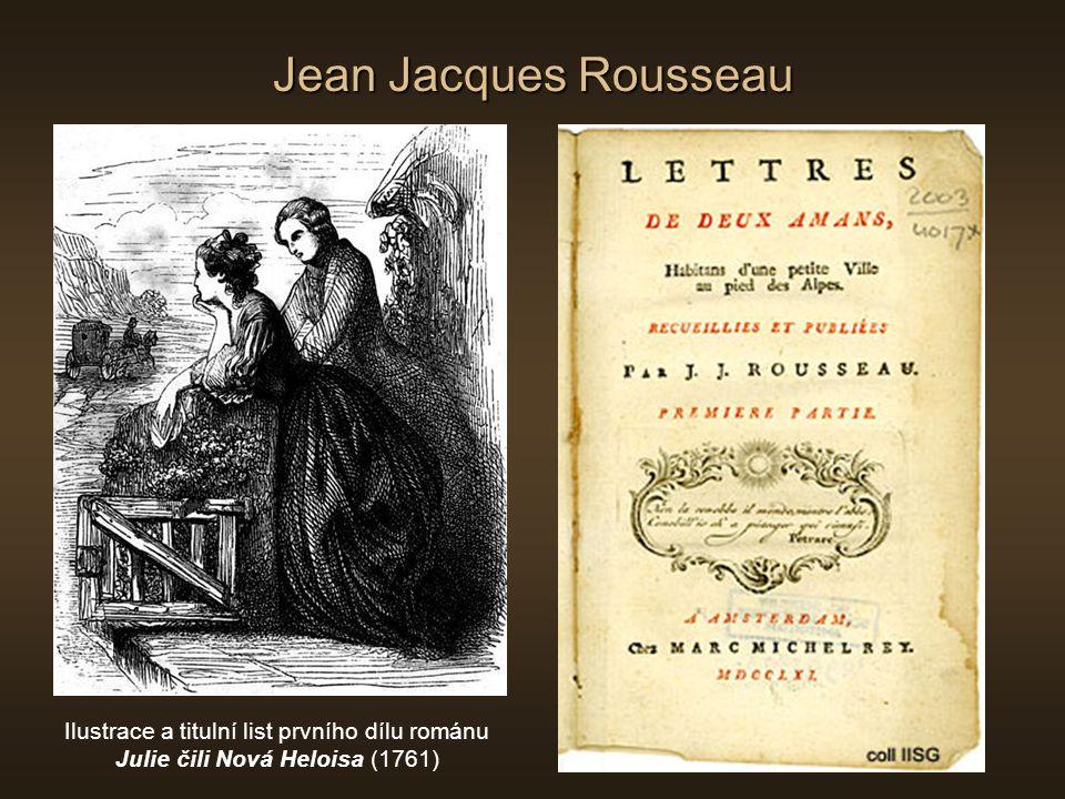 Jean Jacques Rousseau Ilustrace a titulní list prvního dílu románu Julie čili Nová Heloisa (1761)