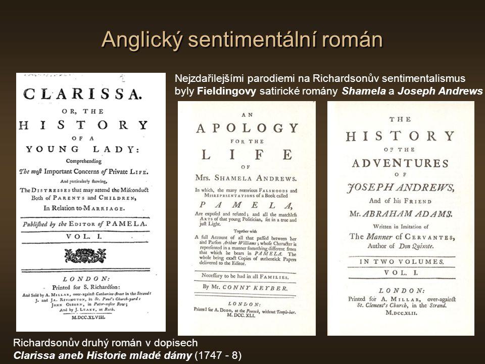 Anglický sentimentální román Lawrence Sterne (1713 - 1786) Titulní list románu Život a názory blahorodého pana Tristrama Shandyho