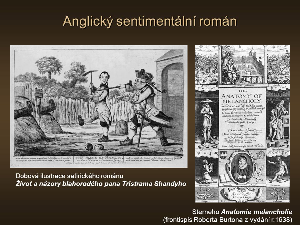 Anglický sentimentální román Sterneho Anatomie melancholie (frontispis Roberta Burtona z vydání r.1638) Dobová ilustrace satirického románu Život a ná