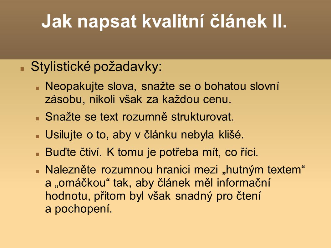 Jak napsat kvalitní článek II.