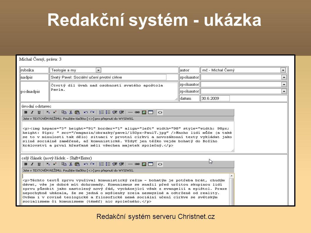 Redakční systém - ukázka Redakční systém serveru Christnet.cz