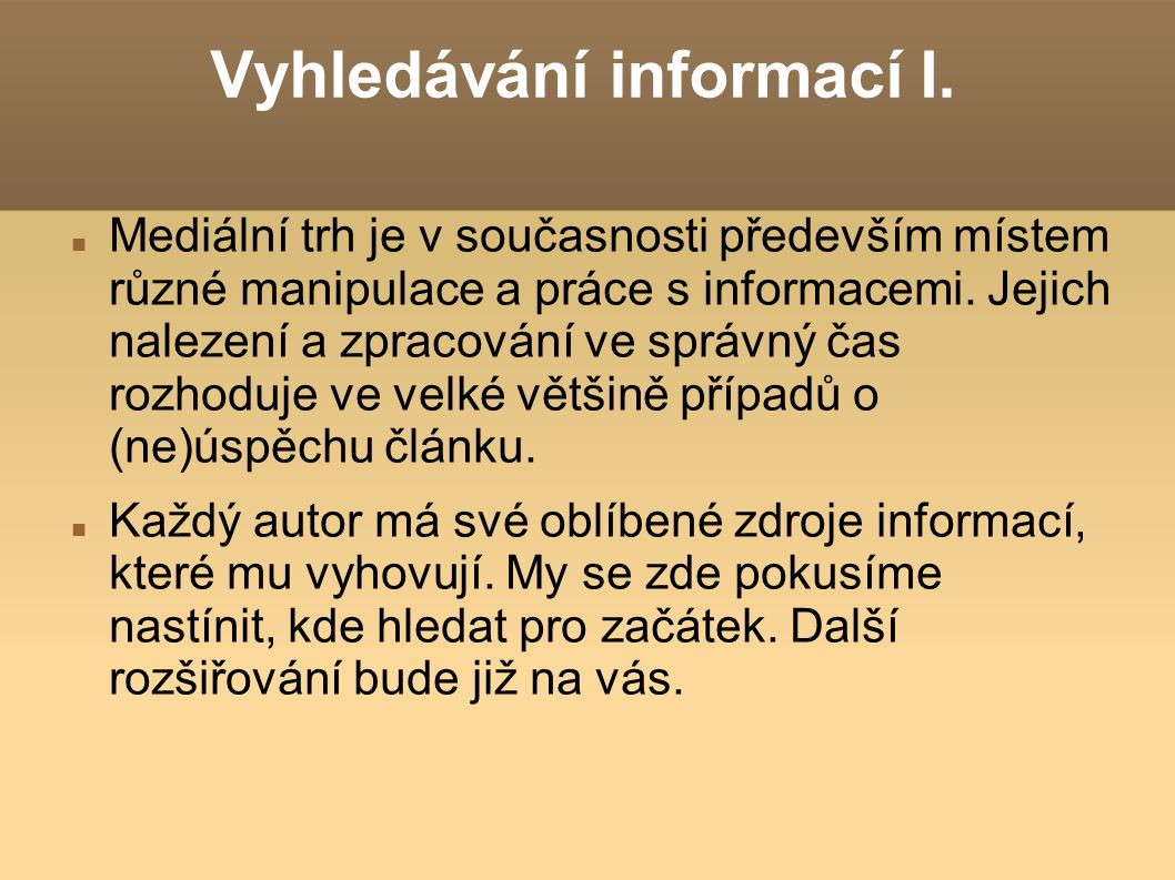 Vyhledávání informací I.