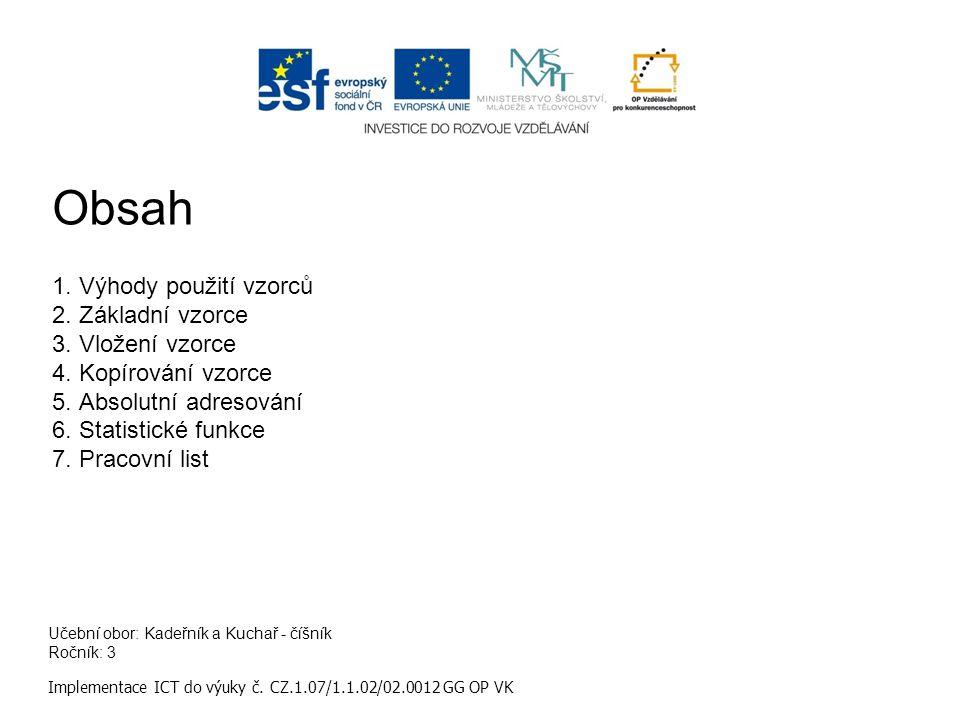 Učební obor: Kadeřník a Kuchař - číšník Ročník: 3 Implementace ICT do výuky č. CZ.1.07/1.1.02/02.0012 GG OP VK Obsah 1.Výhody použití vzorců 2.Základn