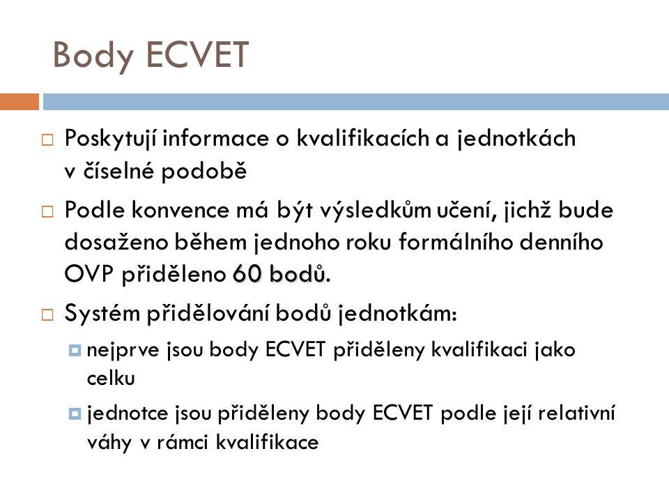 Body ECVET  Poskytují informace o kvalifikacích a jednotkách v číselné podobě 60 bodů  Podle konvence má být výsledkům učení, jichž bude dosaženo během jednoho roku formálního denního OVP přiděleno 60 bodů.