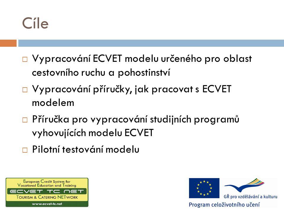 Cíle  Vypracování ECVET modelu určeného pro oblast cestovního ruchu a pohostinství  Vypracování příručky, jak pracovat s ECVET modelem  Příručka pro vypracování studijních programů vyhovujících modelu ECVET  Pilotní testování modelu