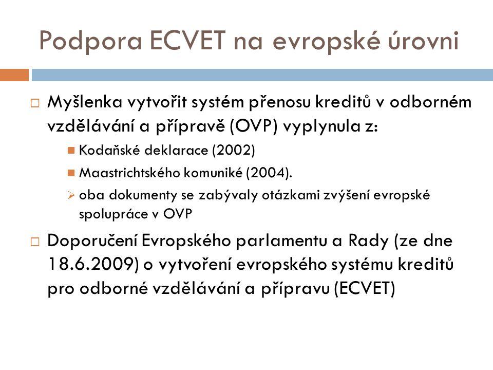 Podpora ECVET na evropské úrovni  Myšlenka vytvořit systém přenosu kreditů v odborném vzdělávání a přípravě (OVP) vyplynula z: Kodaňské deklarace (2002) Maastrichtského komuniké (2004).