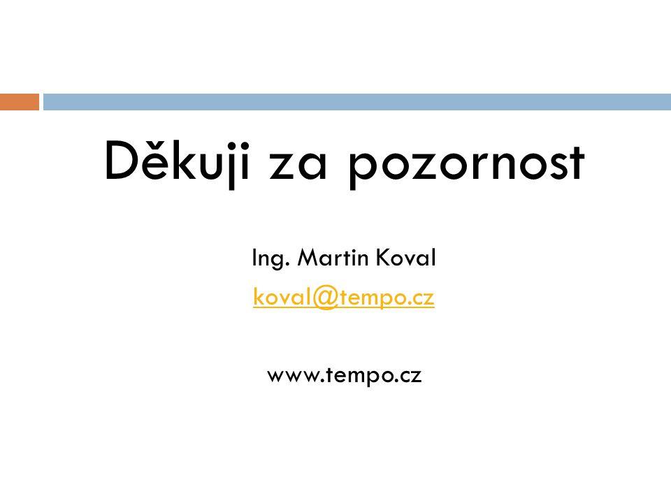 Děkuji za pozornost Ing. Martin Koval koval@tempo.cz www.tempo.cz