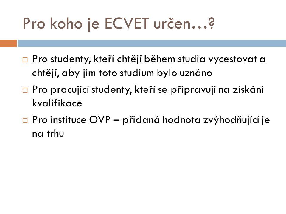 Co ECVET podporuje….