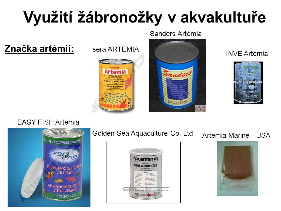 Využití žábronožky v akvakultuře Značka artémií: Golden Sea Aquaculture Co. Ltd Artemia Marine - USA sera ARTEMIA INVE Artémia Sanders Artémia EASY FI