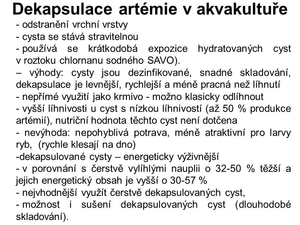 Dekapsulace artémie v akvakultuře - odstranění vrchní vrstvy - cysta se stává stravitelnou - používá se krátkodobá expozice hydratovaných cyst v rozto